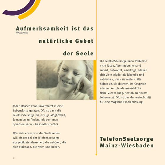 Flyer: Print-Projekt · Telefonseelsorge Wiesbaden · Mainz · Seite 2