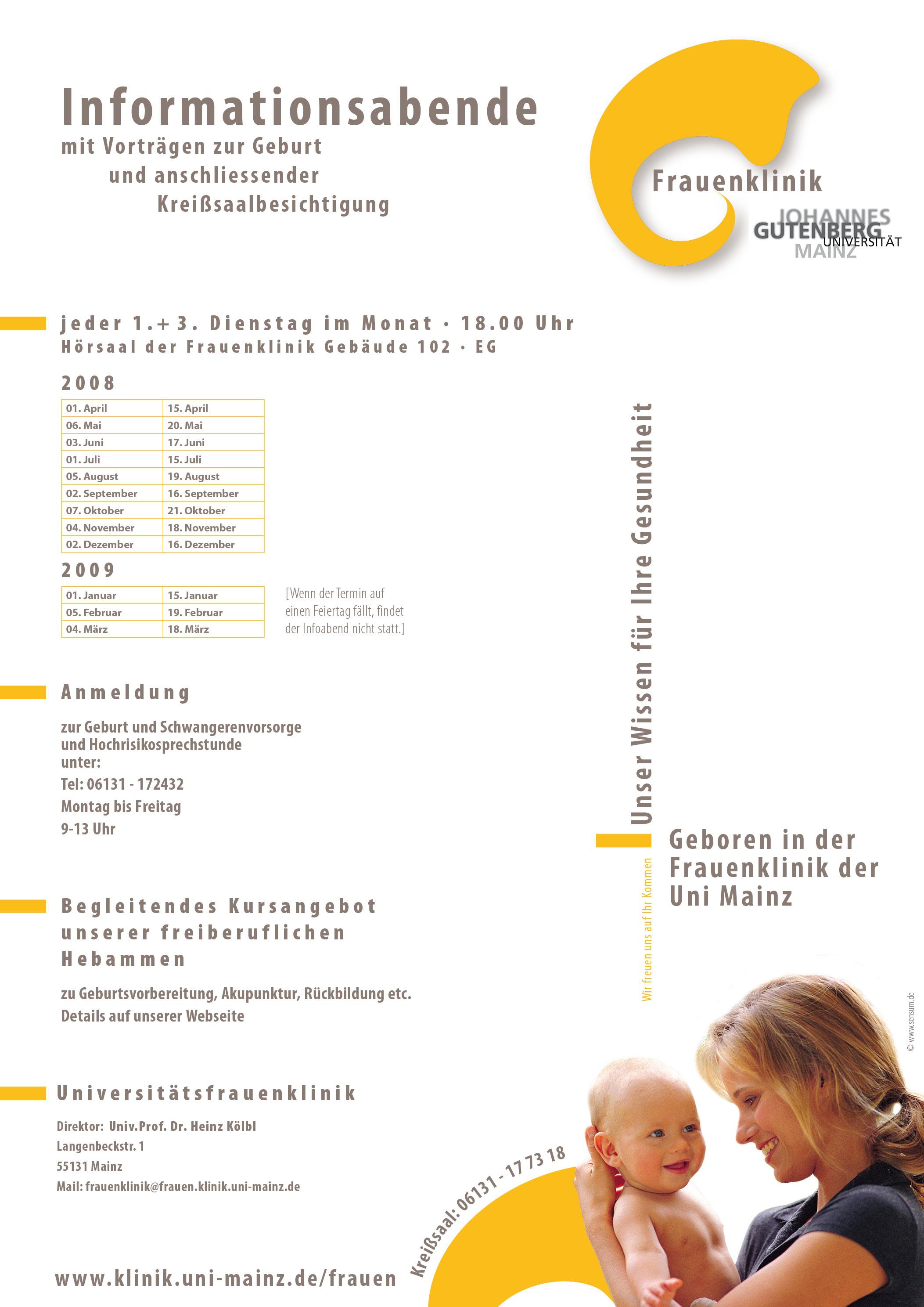 Plakat: Frauenklinik der Universität Mainz