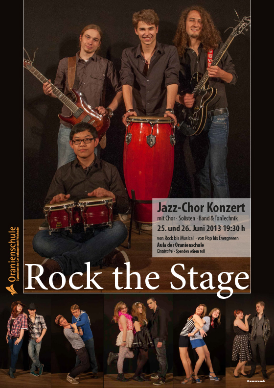 Plakat: Rock the Stage | Jazz-Chor · Oranienschule Wiesbaden