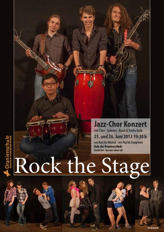 Plakat: Rock the Stage | Jazz-Chor · Oranienschule Wiesbaden